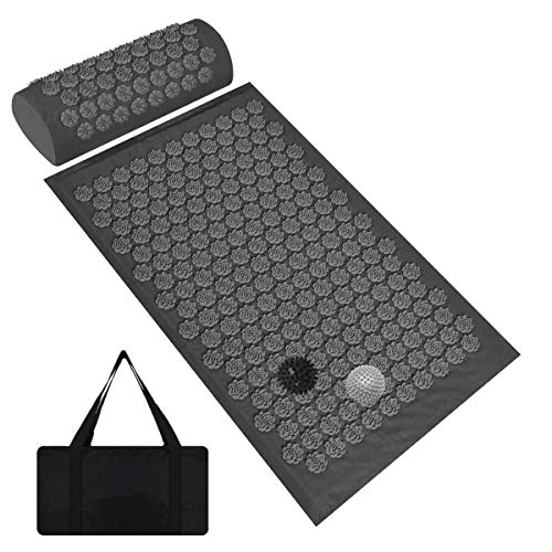 Acupressure Mat and Pillow Set, Acupuncture Mats with 2 Balls, Acupoint...