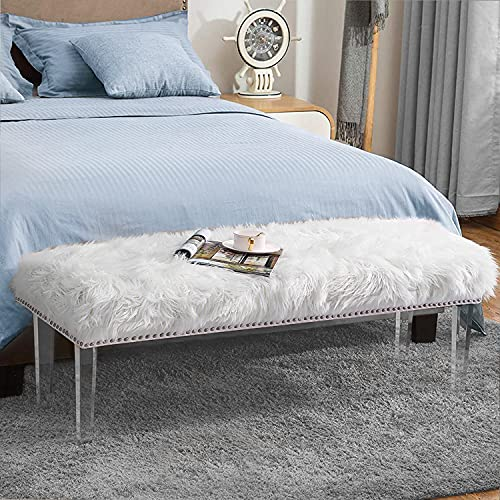Andeworld White Fur Ottoman Bench with Nailhead Upholstered Bed Bench Footstools (Large, White Acrylic Legs)