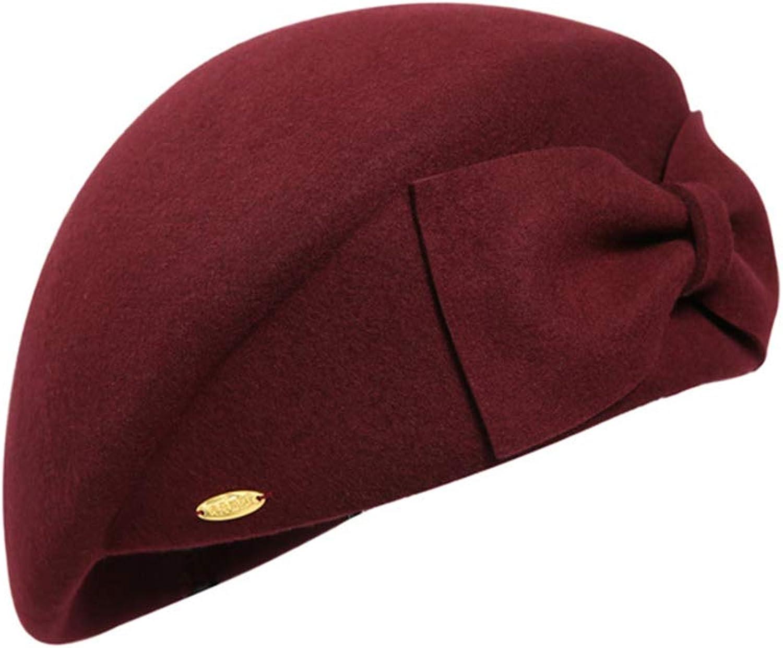 Elegant Beret Women's Bow Decoration Beret Painter Hat Casual Winter Hat Vintage (color   Dark red)