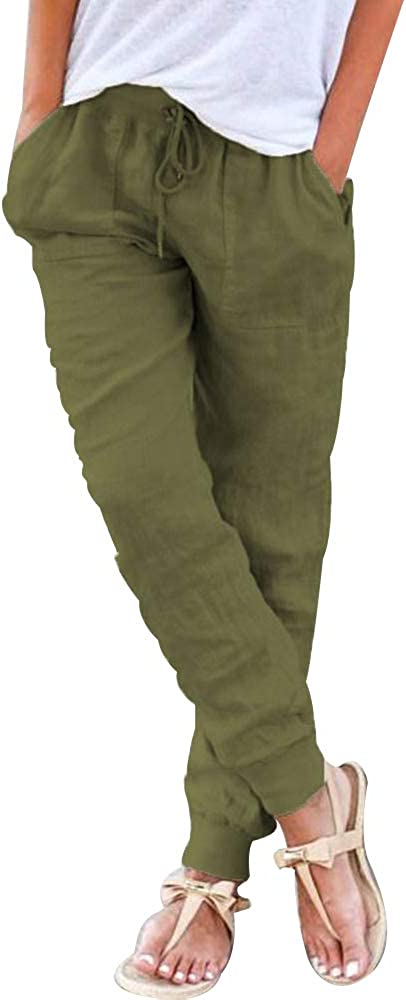 Puimentiua Womens Tapered Pants Cotton Linen Drawstring Back Elastic Waist Pants Casual Trousers with Pockets. (Green, S)