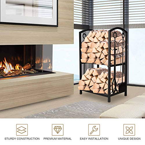 Pinty Firewood Rack with Fireplace Tool Set, 2 Level Fireplace Wood Holder with Tongs, Poker, Shovel, Brush, Wrought Iron Indoor Outdoor Fireplace Log Holder Rack for Living Room Patio Fire Pit