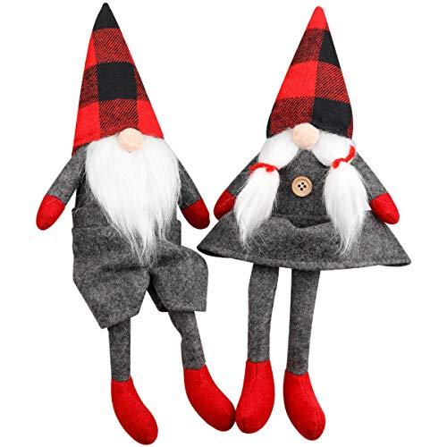 D-FantiX Mr and Mrs Christmas Gnomes Plush Set of 2, Handmade Swedish Tomte Santa Scandinavian Figurine Nordic Plush Elf Doll Gnome Ornaments Christmas Decorations Home Decor 13 Inch