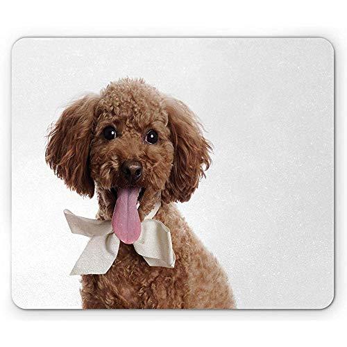 Pudel muismat, Puppy schilderij met een strik, anti-slip rubber, 25x30cm grijs roze parel blass chocolade en zeebruin