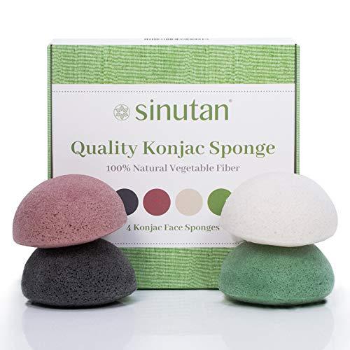 Sinutan®   éponges Konjac Visage   100 % naturel (lot de 4) charbon actif de bambou/thé vert/argile rouge/blanc pur, éponge Konjac ronde pour exfolier et nettoyage profondeur des pores