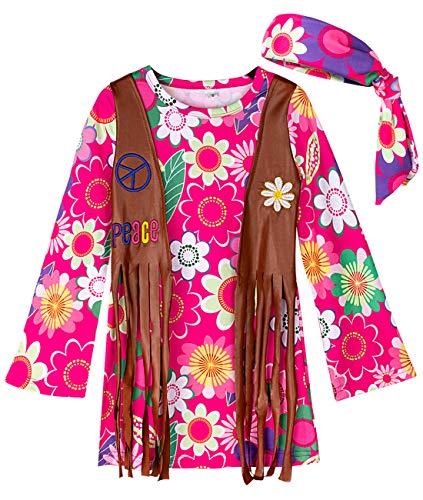 mintgreen Vestido Hippie Carnaval Flower Power Disfraz Conjunto Chaleco Diadema (130-140cm/L, Rosa)