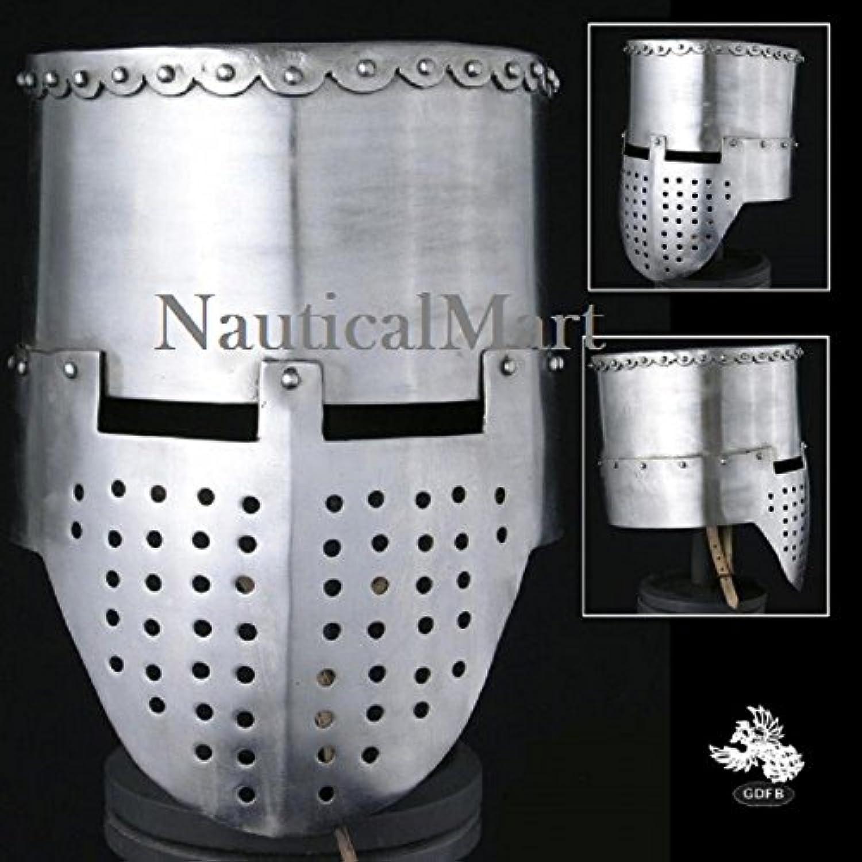 Nauticalmart 12th  13th Century Crusader Flat Top Helmet  14 Gauge