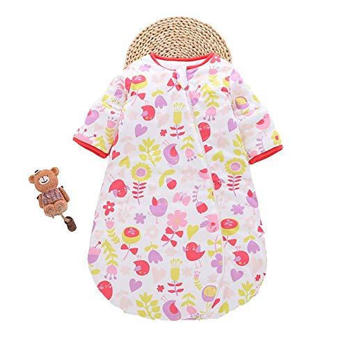 Saco Dormir Algodón Bio para Bebés,Saco de dormir para bebé otoño e invierno, pijama de una pieza de seta de grosor medio para bebé-rojo_Los 65-80cm