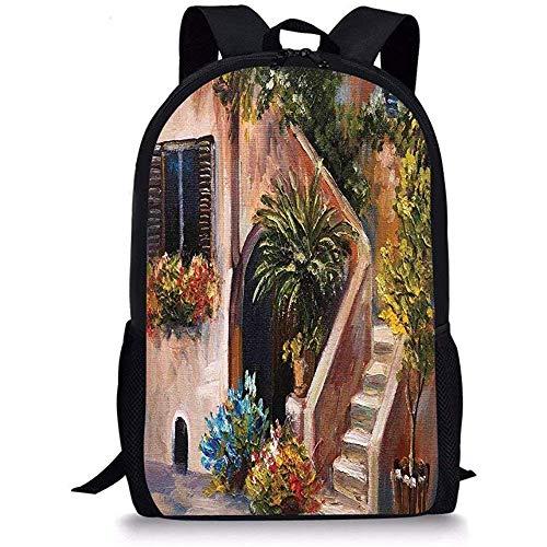 Mei-shop Schultaschen RustikalTerrasse Blumen und Gartenhaus Griechenland mit rustikalem Fenster ÖlgemäldeGrünbraun und Pfirsich