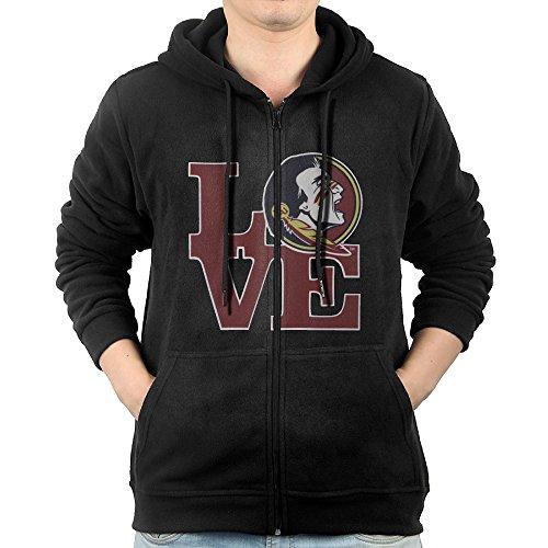 Fashion Hoodies for Mens Love with FSU Seminole Sweatshirts Zip-Up Black