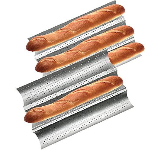 Baguette Pan 2 PCS Bread Pan Baguette Pans for Baking Bread Pans for Baking French Bread Loaf French Bread Pan Nonstick French Baguette Pans (15' x 9.6')