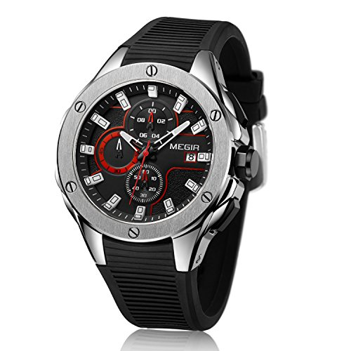 orologio megir MEGIR Orologio da polso cronografo militare analogico al quarzo impermeabile sportivo da uomo con cinturino in silicone