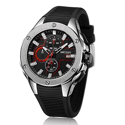 MEGIR Orologio da polso cronografo militare analogico al quarzo impermeabile sportivo da uomo con cinturino in silicone