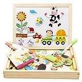 Lewo Magnetisches Holzpuzzle Baby Lernspielzeug Geschenk für Kinder Jungen Mädchen Magnet...