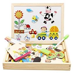 Lewo Magnetisches Holzpuzzle Baby Lernspielzeug Geschenk für Kinder Jungen Mädchen Magnet Kinderspielzeug Doppelseitige Hölzerne Magnettafel Helle Farbenformen Puzzlespielkarten für Kinder 3 4 5 Jahre