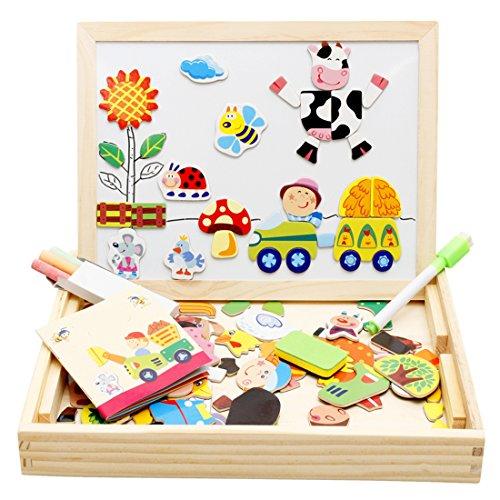 Lewo Houten Magnetische Puzzels Educatief Speelgoed Art Easel Dubbelzijdige Tekentafel voor Kinderen