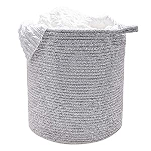 """Labcosi Cotton Rope Laundry Basket with Handle-15""""x15""""x14"""", Nursery Hamper and Storage Bin for Blanket, Pillows and Stuffed Animals"""