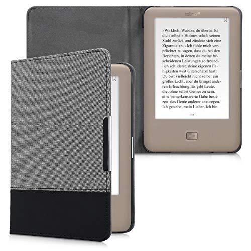 kwmobile Hülle kompatibel mit Tolino Page - Canvas eReader Schutzhülle Cover Case - Grau Schwarz