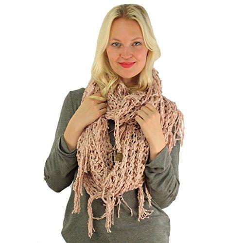 CC BEANIE Winter Soft Chenille Net Tassle Fringe Thick Knit Infinity Scarf Wrap Indi Pink