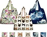 NymphFable 6 Pcs Bolsa Compra Reutilizables Gato Flores Peonía Pájaros Bolsas para Comestibles Ecológicas Plegables Grande