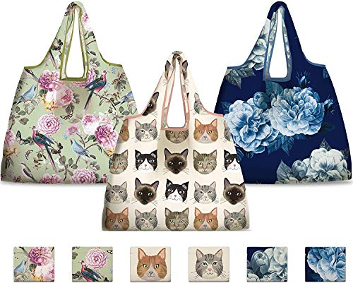 NymphFable 6 Pcs Bolsa Compra Reutilizables Gato Flores Peonía Pájaros Bolsas para...