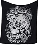 raajsee Schwarz & Weiß Totenkopf Wandteppich Mandala Queen (210x220cms)/Indisch Psychedelic Bohemian Hippie Wandbehang/Indischer Boho Wandtuch Hippie Decke Baumwolle Bohemian Mehrfarbige Tuch