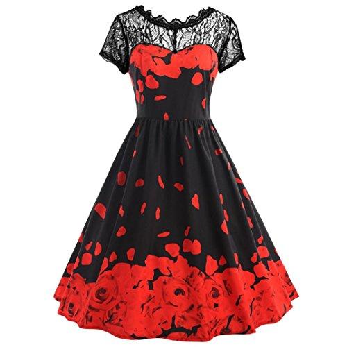 OVERDOSE Damen Boho ärmellos Sommerkleid Frauen Sleeveless Schmetterlings Drucken Asymmetrie Bügel Kleid Butterfly Tube Kleid Strandkleider Partykleid Abendkleid minikleid(Z-Red,EU46)