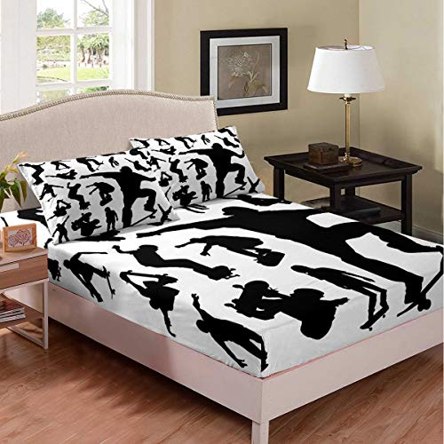 Castle Fairy Skateboard Boys Printed Deep Pocket Fitted Sheet Full Black Skating Shadow Boys Girls Bed Sheet White Background Microfiber Kids Duvet Cover Sheet 3 Pieces(1 Fitted Sheet 2 Pillow Cases)
