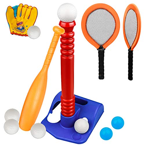 Meland T-Ball Set for Toddlers - Tee Baseball Sport Game with Toy Tennis Rackets, Baseball Gloves, 7 Balls, Outdoor Toy Birtday for Kids