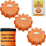 ManaCabana LED Road Flares Emergency Light Roadside Safety Disc Flare for Car Breakdown Kit with Magnetic Waterproof Flashing Disk - AAA Batteries Fitted - 3 Pack
