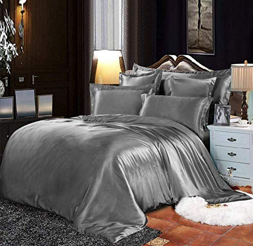 6 Piece Silk Satin Duvet Quilt Cover Bed Set With...