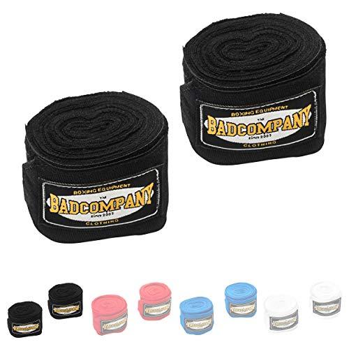 Bad Company Box-Bandagen I Elastische Handgelenksbandagen mit breitem Klettverschluss, Daumenschlaufe und Einer Wickelanleitung für das Boxtraining I Schwarz 3,5 m
