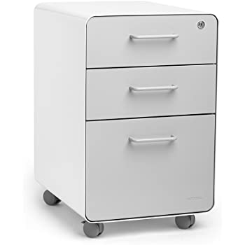 Poppin White + Light Gray Stow 3-Drawer Mobile File Cabinet, Letter/Legal, Locking