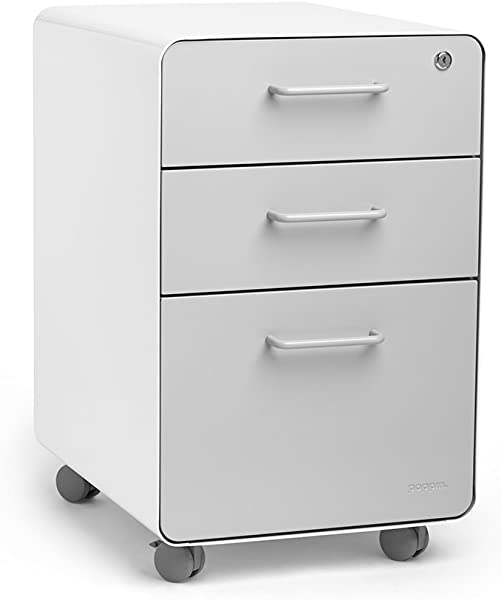 Poppin White Light Gray Stow Rolling 3 Drawer File Cabinet Available In 10 Colors Legal Letter