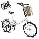 TXOTN Bicicleta Plegable 20 Pulgadas De 6 Velocidades Bici Plegable, Amortiguadores, Manillares Y Sillines Ajustables, Neumáticos Antideslizantes Y Resistentes Al Desgaste