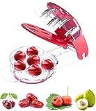 Uooker, snocciolatore per 6 ciliegie, olive, strumento di rimozione dei noccioli in pietra, con contenitore rimovibile e contenitore per succhi di frutta, rosso