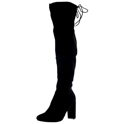 f43d07eadec Womens Block Heel Stretch Long Over The Knee Riding Wide Fit High Boots