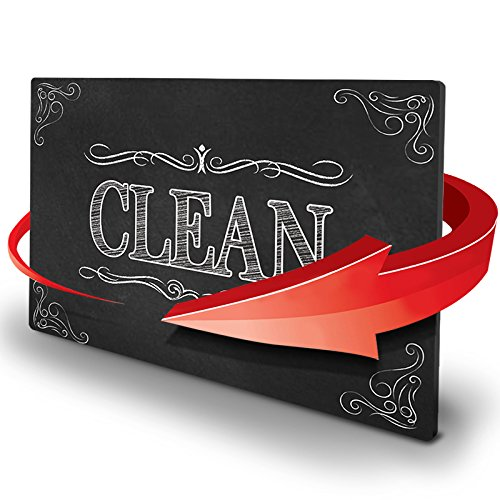 KIWE HOME Reversible Double Sided Dishwasher Magnet. Clean Dirty Flexible Flip 3x4 inch Big Size Flipside Black and White Chalkboard Curve Design Perfect Kitchen Addition Premium Flip Sign Indicator
