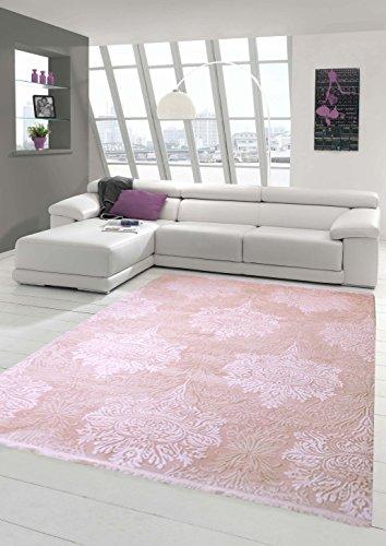 Traum Designer Teppich Moderner Teppich Wollteppich Meliert Wohnzimmerteppich Wollteppich Ornament Rosa Pink Größe 160x230 cm