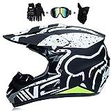 Casco de la motocicleta de motocross Cascos Cascos BMX Ciudad cascos de motocicleta Cross Cascos, niños Quad ATV Go-Kart casco de bicicleta de montaña casco, guantes máscara gafas (juego de 4),S