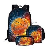 Kids Flame Basketball Backpack Schoolbag Bookbag Lunch Bag Pencil Pouch 3 Piece Set