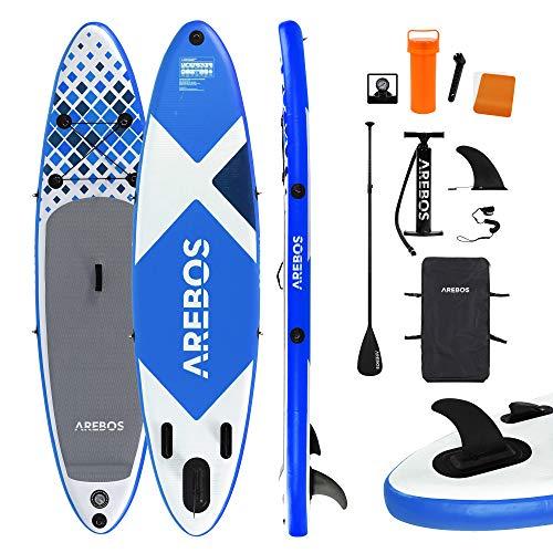 Arebos SUP Board | Stand up Paddling | Surfboard | 320 cm | aufblasbar | Double-Layer | Alu-Paddel | Hochdruck-Pumpe | Transportrucksack | 135kg Tragkraft | Blau