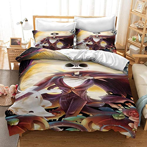 BGDF Duvet cover, European and American Christmas Night Terror pattern, three-piece bedding, including two pillowcases and one quilt cover,c,King