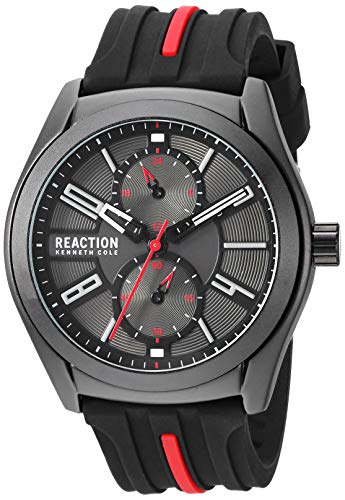 Kenneth Cole REACTION Men's Dress Sport Japanese-Quartz Watch with Silicone Strap, Black, 21.4 (Model: RK50900003)