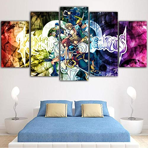 CQ.ZHAO Wall Art 5Pcs Painting Kingdom Hearts Canvas Cartoon Picture Anime Poster Painting Canvas Wall Art Home Decoration (Size 3) Frameless