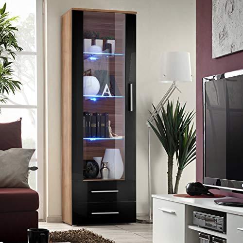 MAS Neo I Vitrina 60 cm de ancho dos cajones universal de cristal manijas de puerta LED luces