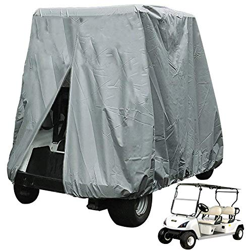 ez go golf cart covers FLYMEI Golf Cart Covers 4 Passenger, Waterproof 420D Golf Cart Cover for EZ GO Club Car Yamaha Golf Carts, Sunproof Dustproof 4 Seat Club Car Cover, Outdoor Cover for Golf Cart (Up to 112 Inch)