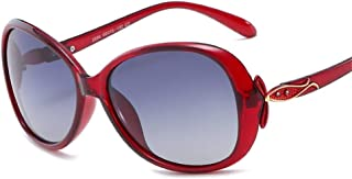 SGJFZD Outdoor Seaside Sunproof UV400 Ladies' Polarized Sunglasses Vintage Retro Fishing Sporting Large Frame Elegant Sunglasses (Color : Red)