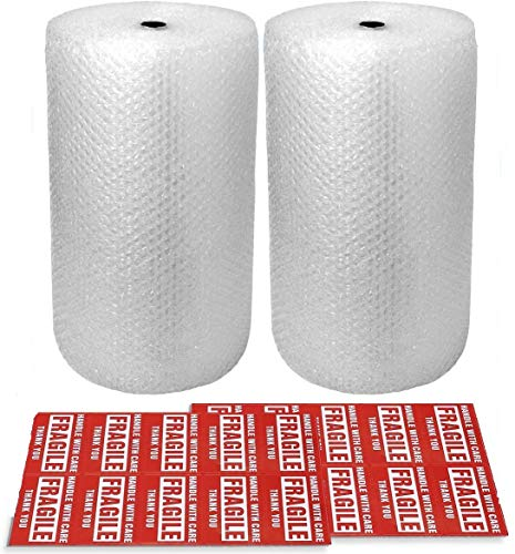 2-Pack Bubble Cushioning Wrap Rolls, 3/16' x 12' x 72' ft Total, Perforated Every 12', 20 Fragile Stickers for Packaging, Shipping, Mailing