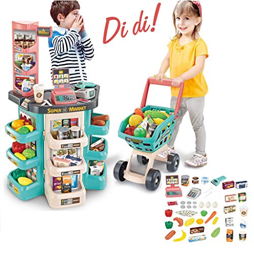 Kids Supermarket Playset | 65 Piece Supermarket Cash Register Shop Trolley Accessories Grocery Store Playset with Pretend Food Accessories Sales Shelves (from US, B)