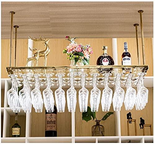 SACKDERTY Suporte para vinho, ajustável em Altura, suporte para garrafas Duplo montado no teto, suporte para taças de Metal, Bar Restaurante dourado 100cm